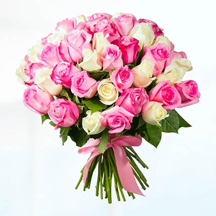 50 Pink & White Roses Bunch