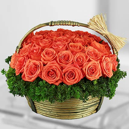 50 Stems Orange Roses Basket