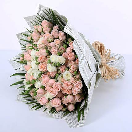 70 Stems of Pink & White Spray Roses Bunch