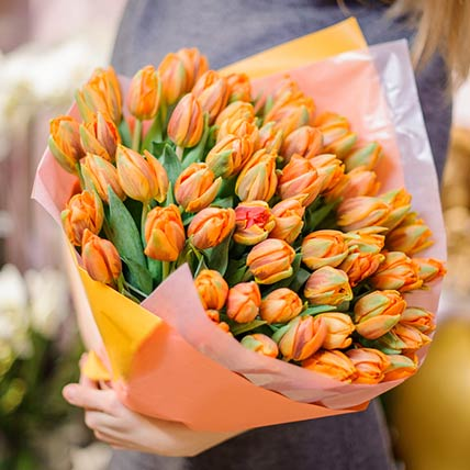 90 Orange Tulips Bouquet