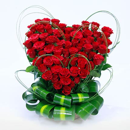 99 Red Roses Heart Shaped Arrangement