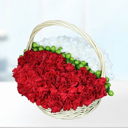 Basket Of Red & White Carnations- Deluxe