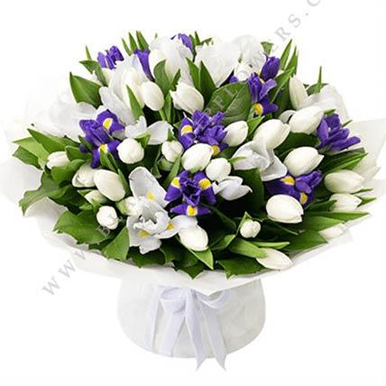 Blue Iris & White Tulips Bouquet- Premium