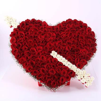 Cupid Heart Arrow Roses Arrangement- Premium