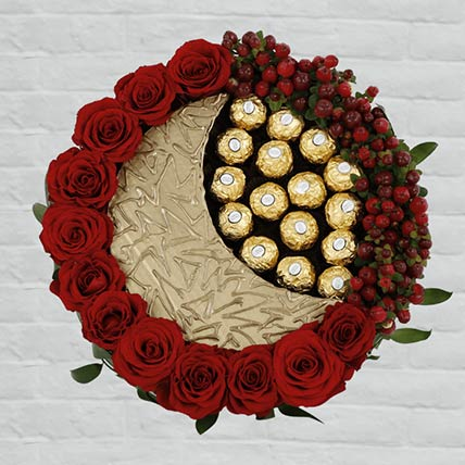 EID Red Roses & Rocher Arrangement- Deluxe