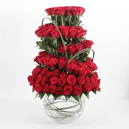 Fish Bowl Of 201 Red Roses