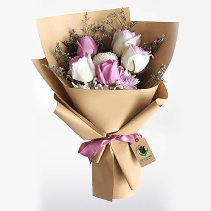 Purple & White Roses Bouquet- Deluxe