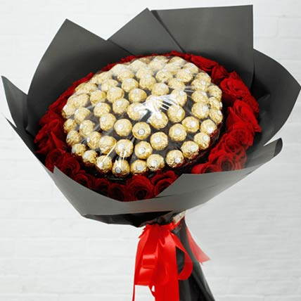 Red Roses & Ferrero Rocher Bouquet- Standard