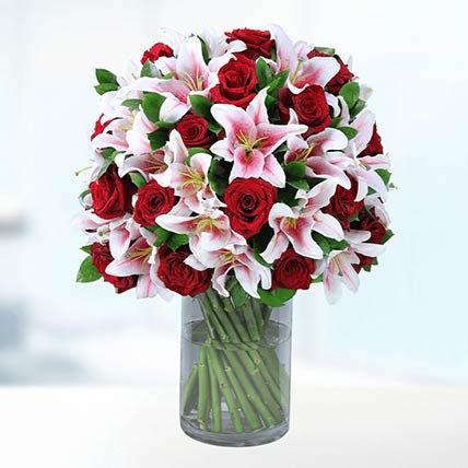 Red Roses & Pink Liles In Vase- Premium