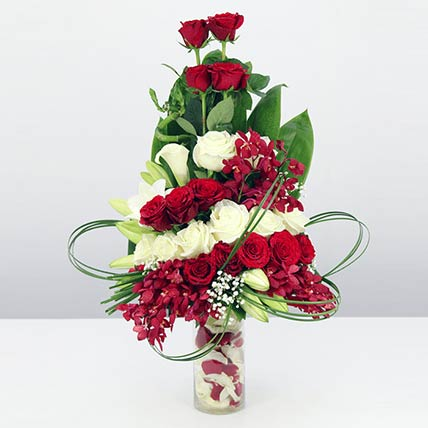 Red & White Flowers Vase- Standard