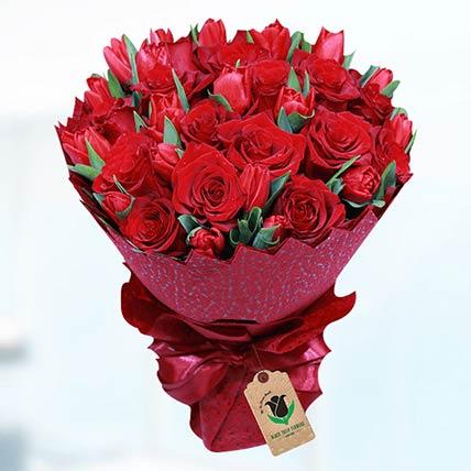 Romantic Red Flower Bouquet- Deluxe
