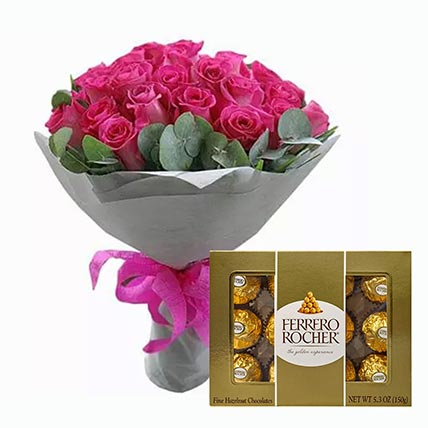 Dark Pink Roses Bunch & Ferrero Rocher 12 Pcs