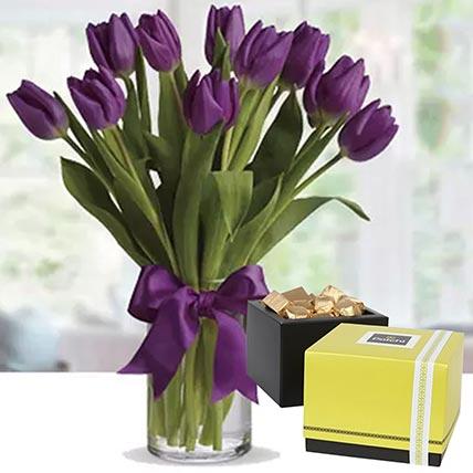 Royal Purple Tulips & Patchi Chocolates 500 gms