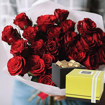 Vivid Red Roses Bunch & Patchi Chocolates 750 gms