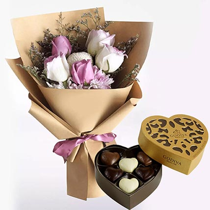 White Purple Flowers & Godiva Chocolates 250 gms