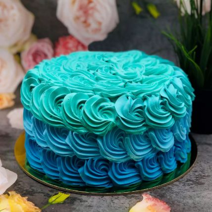 Eggless Calm Shades Of Blue Forest Cake