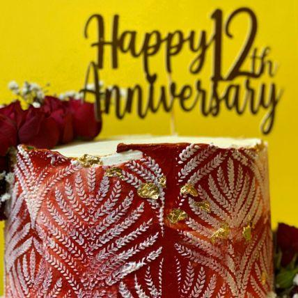 Happy 12th Anniversary Red Velvet Cake