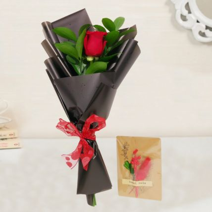 Red Rose Bouquet & Handmade Greeting Card
