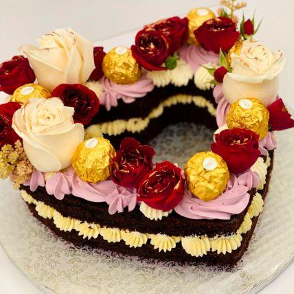 Rosy Heart Chocolate Cake