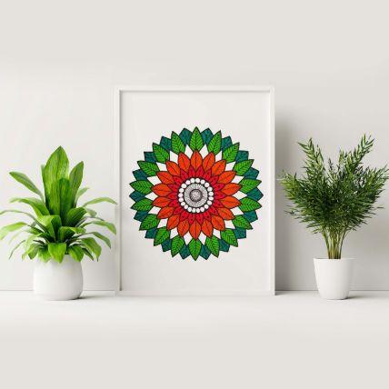 Green & Orange Art White Frame