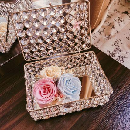 Diamond Jewelry Box With Eternal Flowers