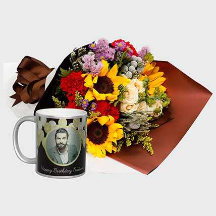 Flower Bouquet And Personalised Mug