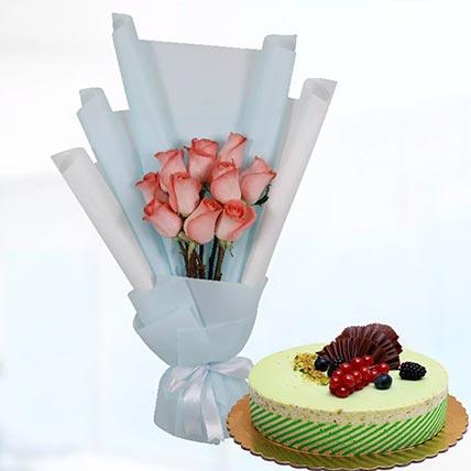 10 Orange Roses & Kifaya Cake 8 Portions