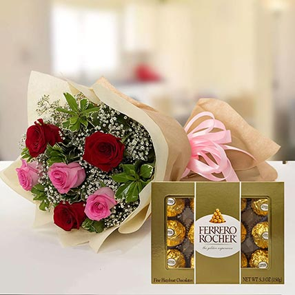 Beautiful Roses & Ferrero Rocher 12 Pcs