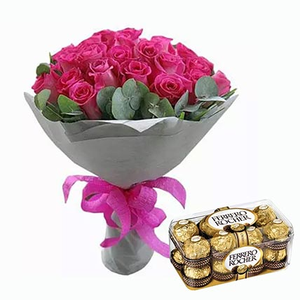 Dark Pink Roses Bunch & Ferrero Rocher 16 Pcs