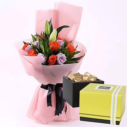 Elegant Flower Bouquet & Patchi Chocolates 750 gms