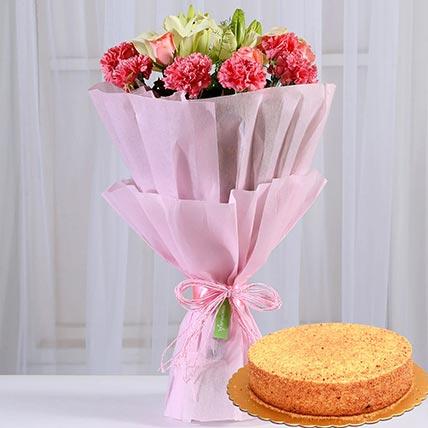Lovely Flower Posy & Honey Cake 4 Portions