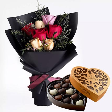 Mixed Roses Posy & Godiva Chocolates 500 gms