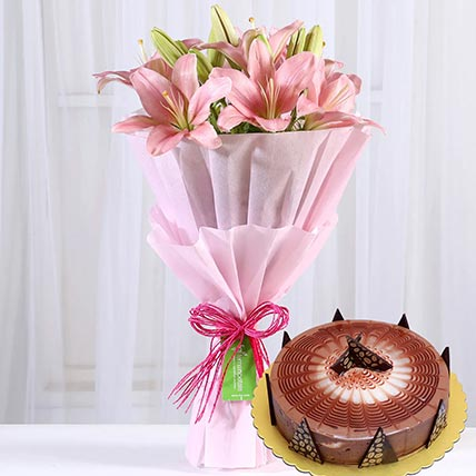 Pink Asiatic Lilies & Cappuccino Cake 4 Portions