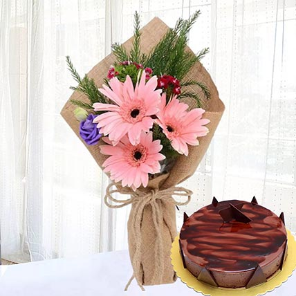 Pink Gerberas & Chocolate Ganache Cake 8 Portions