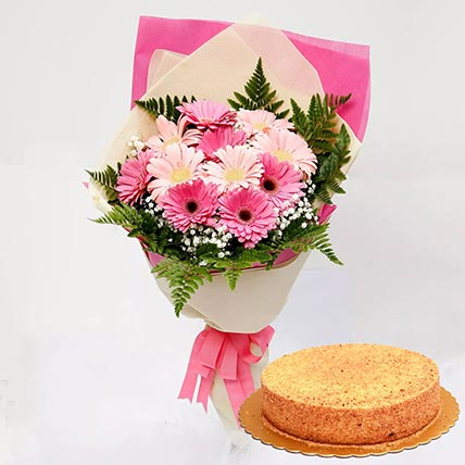 Pink Gerberas & Honey Cake 12 Portions