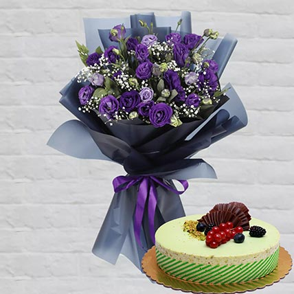Purple Lisianthus & Kifaya Cake 12 Portions