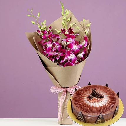Purple Orchids & Cappuccino Cake 8 Portions