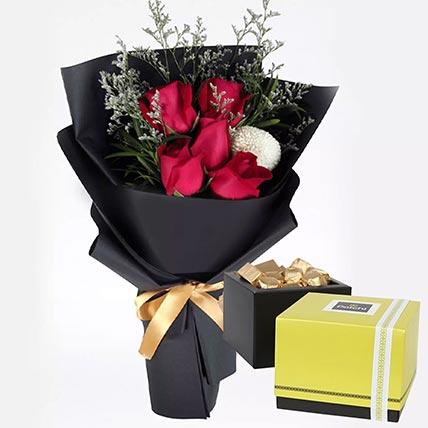 Romantic Red Roses & Patchi Chocolates 500 gms
