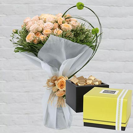 Spray Roses Bouquet & Patchi Chocolates 250 gms