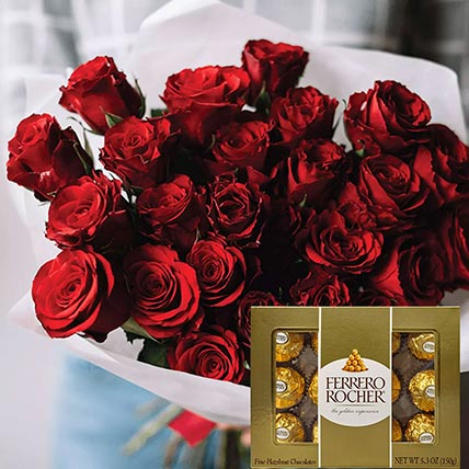 Vivid Red Roses Bunch & Ferrero Rocher 12 Pcs