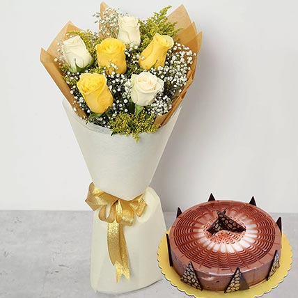 White Yellow Roses & Cappuccino Cake 8 Portions