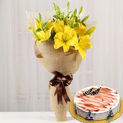 Yellow Lilies & Choco Vanilla Cake 12 Portions