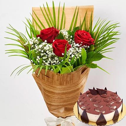 3 Red Roses & Tiramisu Cake 4 Portions