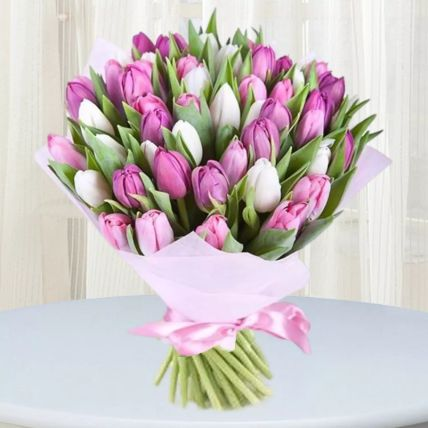 Pink White Tulips Bunch