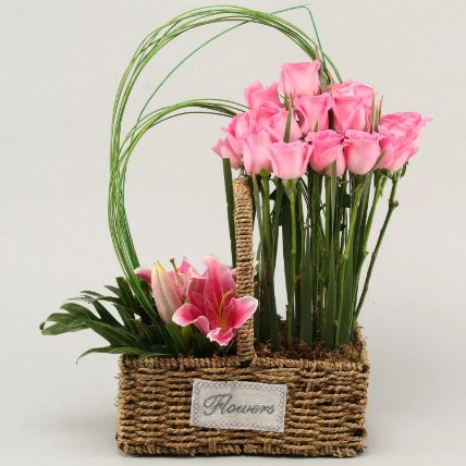 Roses & Lilies In Cane Basket