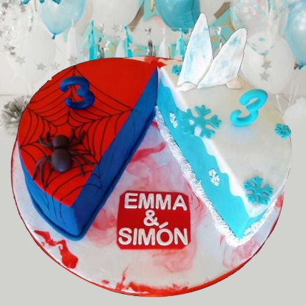 Frozen And Spiderman Theme Cake 8 Portions Chocolate