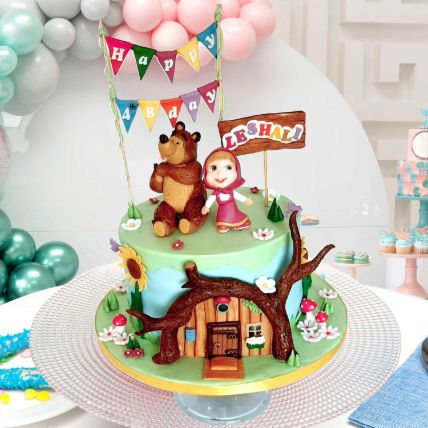 Masha And Bear Theme Cake 12 Portions Vanilla