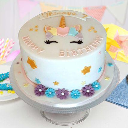 Pretty Unicorn Theme Cake 8 Portions Vanilla