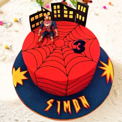 Spiderman Theme Cake 12 Portions Chocolate