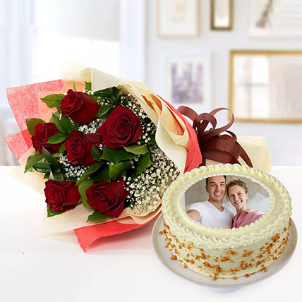 1.5 Kg Butterscotch Cake With Red Roses Bouquet